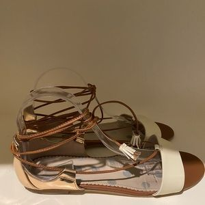 Boden shoes ivory and metallic bronze sandals 10